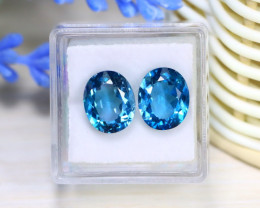 Blue Topaz 8.86Ct 2Pcs VVS Oval Cut Natural London Blue Topaz C1702