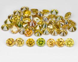 *NoReserve*Diamond 2.59 Cts 49pcs 2.3 mm Fancy Intense Yellow Natural