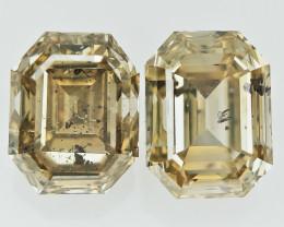 2/2.04 cts , Emerald Brilliant Cut Diamond , Champagne Diamond