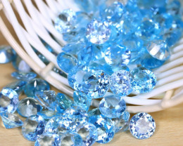 Blue Topaz 201Ct 90Pcs VS Round Cut Natural Swiss Blue Topaz B1935