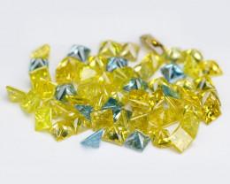 *No Reserve* Diamond 1.19 Cts 62pcs 1.4mm Sparkling Fancy  Blue Yellow Colo