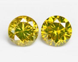 Diamond 0.49 Cts 2pcs Fancy Intense Yellow Natural