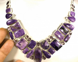 443.5 Tcw. Purple Siberian Charoite / Sterling Silver Necklace - Gorgeous