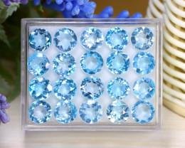 Blue Topaz 40.75Ct Round Cut Natural Sky Blue Topaz Lot Box C2021