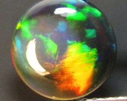 1.42Cts Natural Earth Mined Color Play Black Opal Round Cabochon Gem REF VO