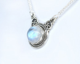 RAINBOW MOONSTONE NECKLACE NATURAL GEM 925 STERLING SILVER AN36