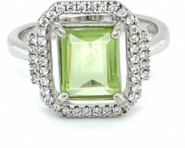 Peridot 1.20ct White Gold Finish Solid 925 Sterling Silver Ring