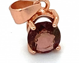 Rubellite .98ct Rose Gold Finish Solid 925 Sterling Silver Pendant
