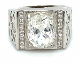 Kunzite 5.30ct White Gold Finish Solid 925 Sterling Silver Ring