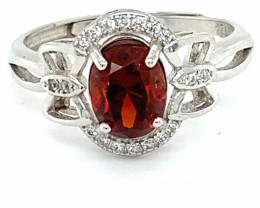 Spessartine 1.50ct White Gold Finish Solid 925 Sterling Silver Ring