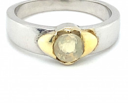 Opal .35ct Golden Rhodium Finish Solid 925 Sterling Silver Ring