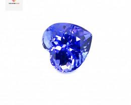 6.06(ct) Purplish Blue Color Heart Shape Flawless Tanzanite