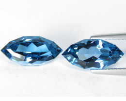 7.92Cts Sparkling Natural London Blue Topaz Marquise Custom Cut Matching Pa