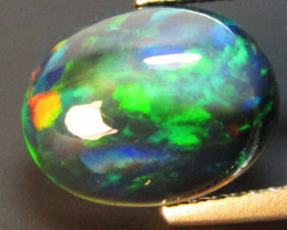 2.64Cts Natural Earth Mined Color Play Black Opal Oval Cabochon Gem REF VOD