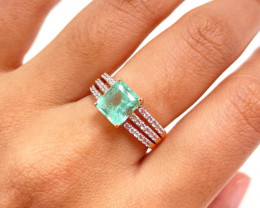 Colombian Emerald 14K Pink Rose Gold Diamond Ring EM02