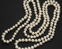 89.6g Natural Pearl Necklace - 7-9mm Knotted 127cm Length