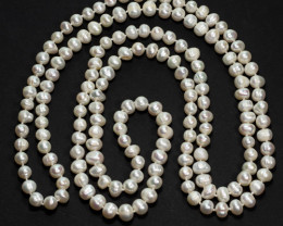 91.6g Natural Pearl Necklace - 7-9mm Knotted 127cm Length