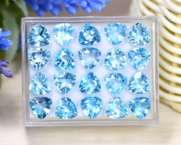 Blue Topaz 39.12Ct VS Trillion Cut Natural Sky Blue Topaz Lot Box A2112
