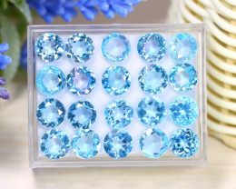 Blue Topaz 41.03Ct VS Round Cut Natural Sky Blue Topaz Lot Box A2120