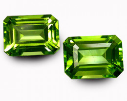 4.47Cts Genuine Excellent Natural Peridot 9X7mm Emerald Cut Matching Pair R