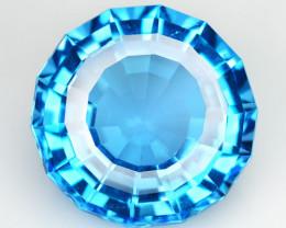 10.70Cts Sparkling Natural Swiss  Blue Topaz Round Custom Cut Loose Gem VID