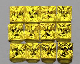 2.40 mm Square Princess Cut 12 pcs 1.31cts Ceylon Yellow Sapphire [VVS]