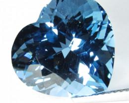 14.96Cts Sparkling Natural London Blue Topaz Heart Shape Loose Gem VIDEO