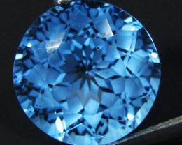 7.00Cts Sparkling Natural Swiss Blue Topaz Round precision Cut Loose Gem VI