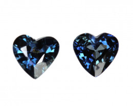 0.63cts Natural Australian Blue Sapphire Matching Heart Shapes