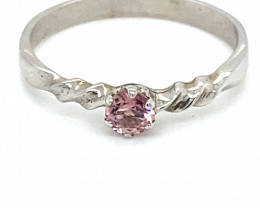 Rubellite .25ct Platinum Finish Solid 925 Sterling Silver Ring