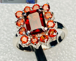 MALAYA GARNET ( TANZANIA) RING WITH  SILVER GOLD PLATED , FROM COLLECTOR- U