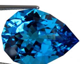 7.88Cts Sparkling Natural Swiss Blue Topaz Pear Custom Cut Loose Gem VIDEO