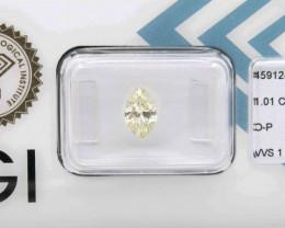 1.01ct Natural  Light Yellow Diamond Marquise  IGI certified VVS  + Video