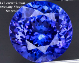 3.42ct Tanzanite - Loupe Clean/  Violet blue /9.3mm
