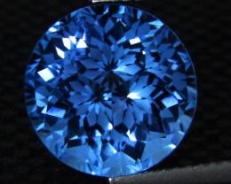 6.14Cts Sparkling Natural Swiss Blue Topaz Round precision Cut Loose Gem VI