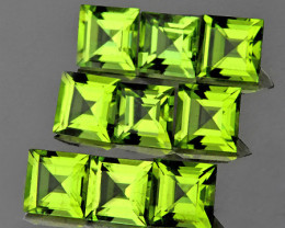 4.00 mm Square 9 pcs 3.16cts Green Peridot [VVS]
