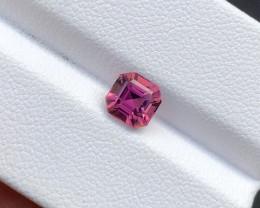 0.90(ct) Hot Pink Color Asscher Cut Congo Tourmaline Faceted Gem