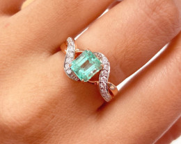 Colombian Emerald 14K Pink Rose Gold Diamond Ring EM07