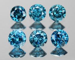 Diamond 0.47 Cts 6Pcs Sparkling Blue Color Natural