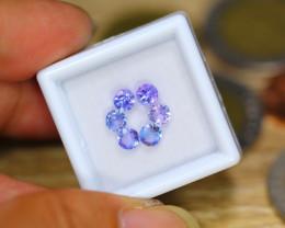 1.70ct Natural Violet Blue Tanzanite 4.1mm Round Cut Lot  GW8732