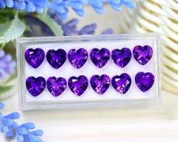 Amethyst 13.39Ct Heart Cut Natural Uruguay Violet Amethyst Lot C2319