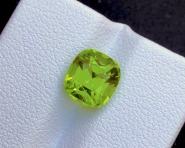 Parrot Green Color 3.25Ct Natural Step Cushion Cut Top Quality Peridot
