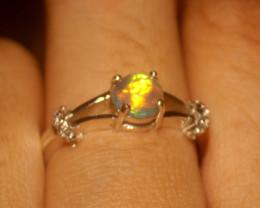 Ethiopian Fire Opal 925 Silver Ring Size US (8.5) 547