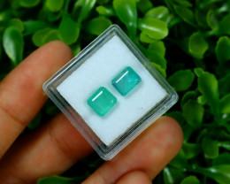 Emerald 2.96Ct 2Pcs Octagon Cut Natural Zambian Green Emerald B2412