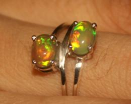 Ethiopian Fire Opal 925 Silver Ring Size US (7) 528