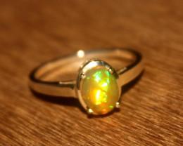 Ethiopian Fire Opal 925 Silver Ring Size US (7) 526