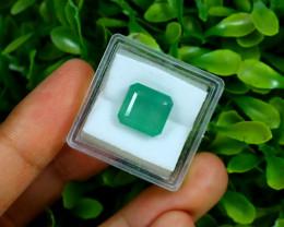 Emerald 6.20Ct Octagon Cut Natural Zambian Green Color Emerald F2204