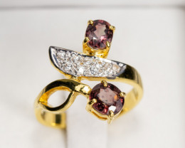 2tcw Songea Ruby and White Topaz 18k Gold Ring
