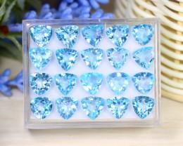 Blue Topaz 34.36Ct VS Trillion Cut Natural Sky Blue Topaz Lot Box A2515