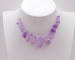 D1694 - 109.5cts Natural amethyst nugget beads purple necklace,gemstone ame